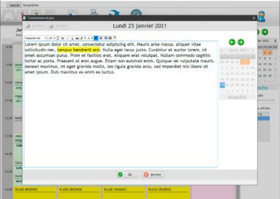 Le bloc-note du jour permet d'afficher un texte un jour donné