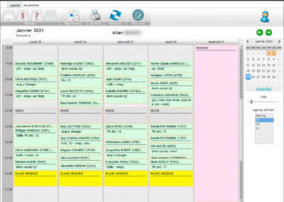 l'agenda électronique permet de voir une semain complète