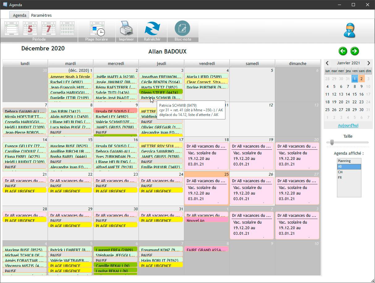 Le mode mois de l'agenda permet d'avoir une vue mensuel des vos rendez-vous