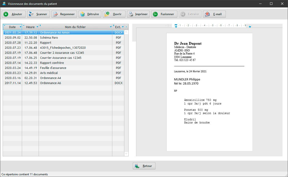 Le logiciel EasyGest contient un traitement de texte et une gestion électronique de vos documents (GED). Vous pouvez définir vos propres documents comme une ordonnance par exemple.