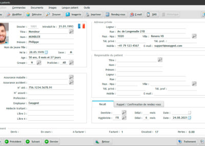 Ecran principal du dossier patient dans le logiciel EasyGest. Toutes les informations nécessaires sont affichées sur une page claire et aérée.