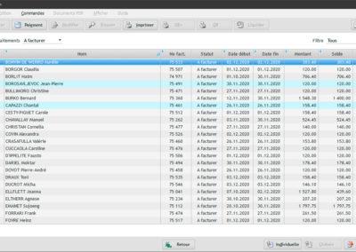 Fenêtre pour gérer la facturation globale dans le software EasyGest.