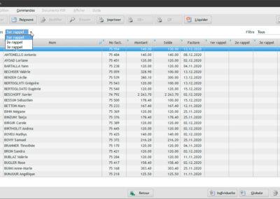 Dans la facturation globale du logiciel EasyGest on peut simplement filtrer les traitements qui sont en rappels.