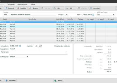 Fenêtre principale pour la gestion de la facturation individuelle relative à un patient particulier dans le software EasyGest.