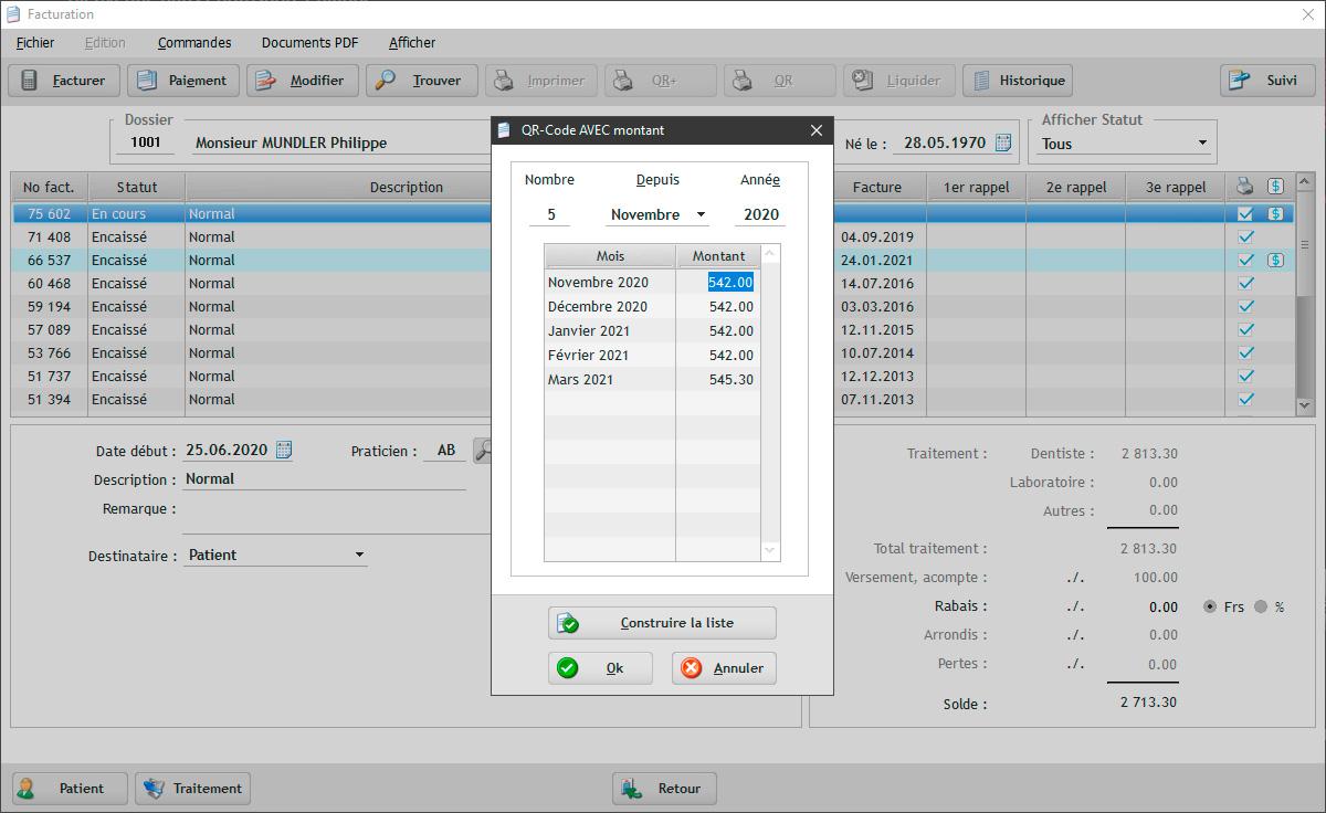 Avec EasyGest il est possible de définir un plan de paiement pour un patient en imprimant plusieurs BVR ou QR avec des dates d'échéance différentes