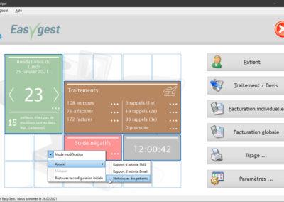 Vous pouvez ajouter ou enlever des éléments du tableau de bord de notre logiciel Easygest