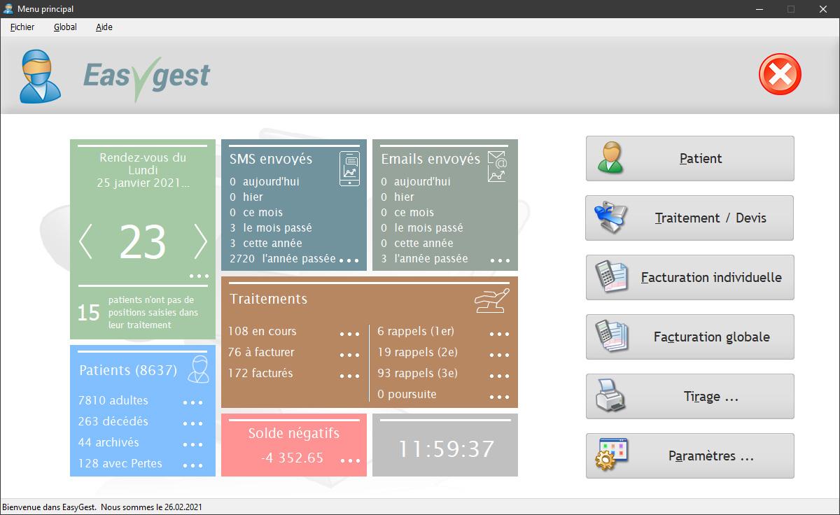 L'écran d'accueil avec affichage du tableau de bord
