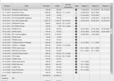 Le liste de rappel avec date du dernier versement et les dates de rappels en 1 tableau