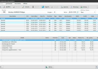 Ecran principal du software EasyGest pour afficher la liste des traitements d'un patient donné. Toutes les informations nécessaires sont présentées de manière claire et synthétique.