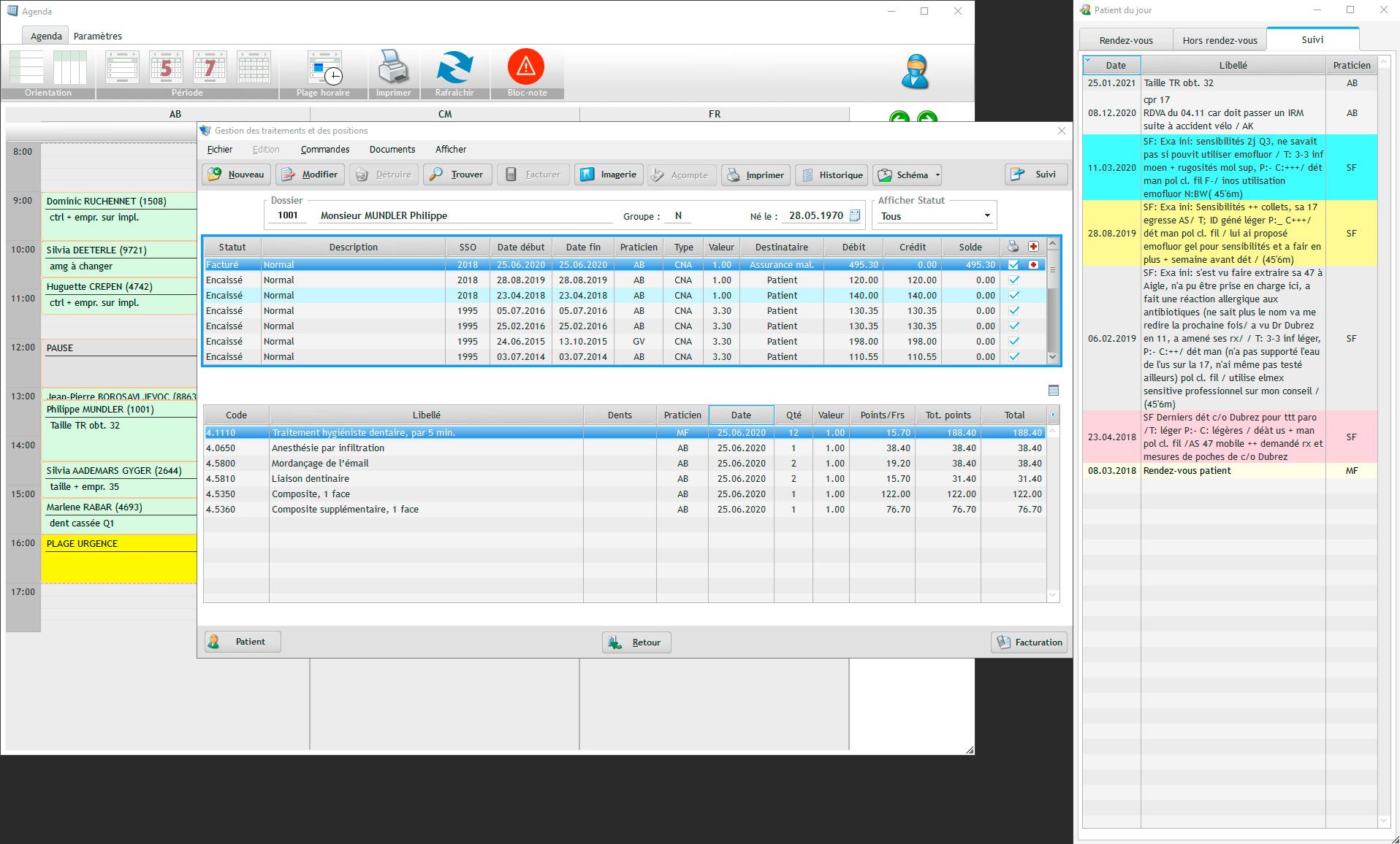 Vue complète des traitements dans le logiciel EasyGest avec le suivi du traitement sélectionné et l'agenda.