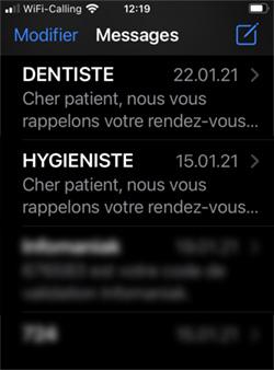 Exemple du nom de l'expéditeur SMS, différenciable entre les praticiens du type Dentiste et ceux du type Hygiéniste.